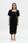 Toni Midi Dress - Black Cotton Satin