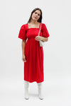 Toni Midi Dress - Crimson Cotton Satin