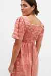Toni Midi Dress - Terracotta Gingham
