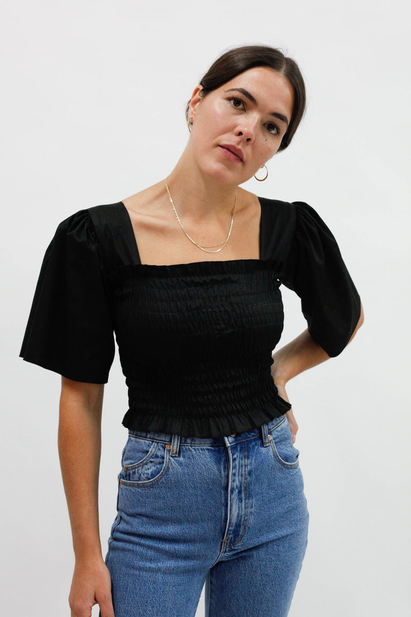 Toni Top - Black Cotton Satin