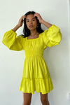 Agatha Dress Long Sleeve - Canary Satin