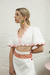 Oh Cherry Crop Top - White w/ Pink Trim Exclusive