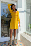 Toni Dress Long Sleeve - Marigold Satin
