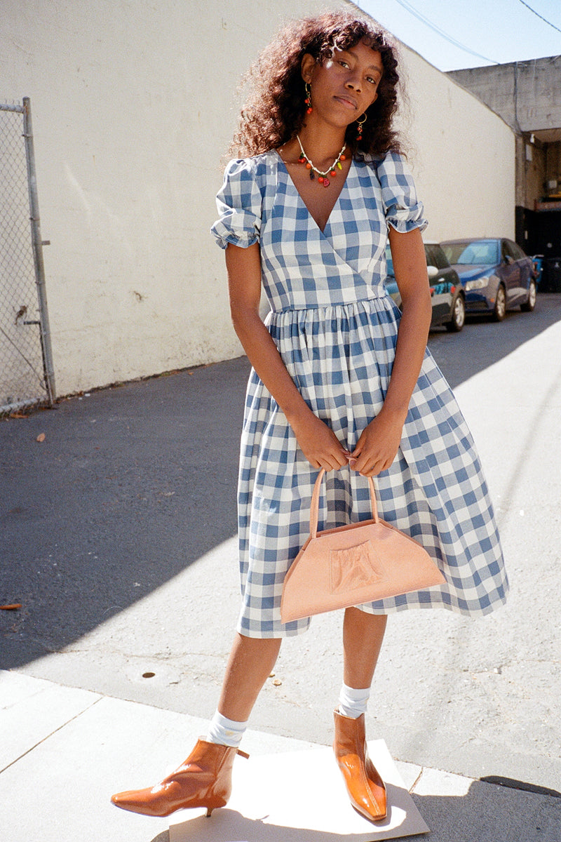Topanga Midi Dress - Denim and Ivory Gingham