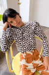 Wendy Long Sleeve Top - Black Daisy Check