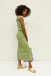 Ribbed Midi Skirt - Green