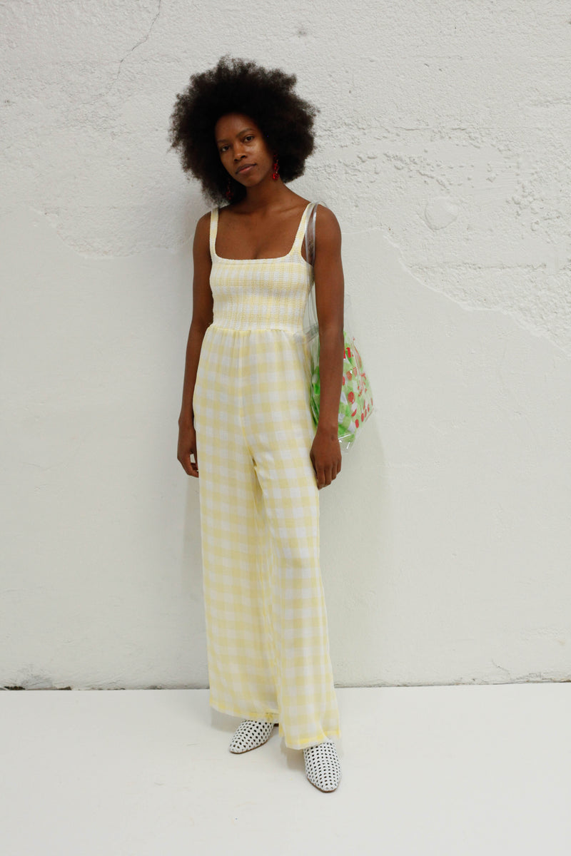 Wren Smocked Jumpsuit - Sheer Lemon