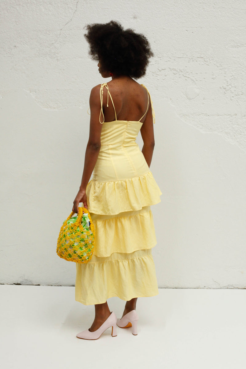 Quinn Tiered Dress - Sheer Lemon