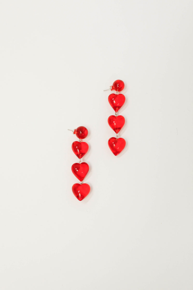 Never Tear Us Apart Heart Drop Earrings - Rojo Resin