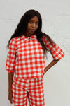 Peter Pan Blouse - Red Gingham