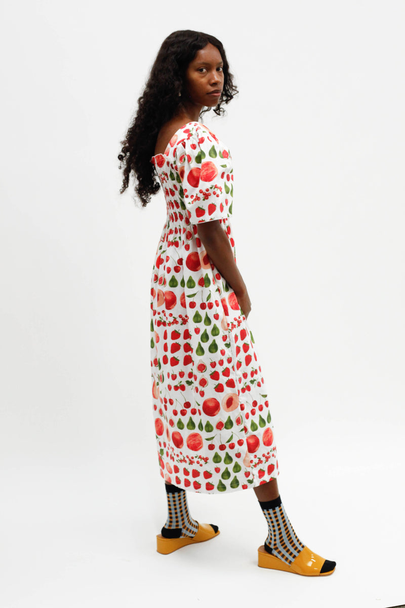 Toni Midi Dress - Fruit Print