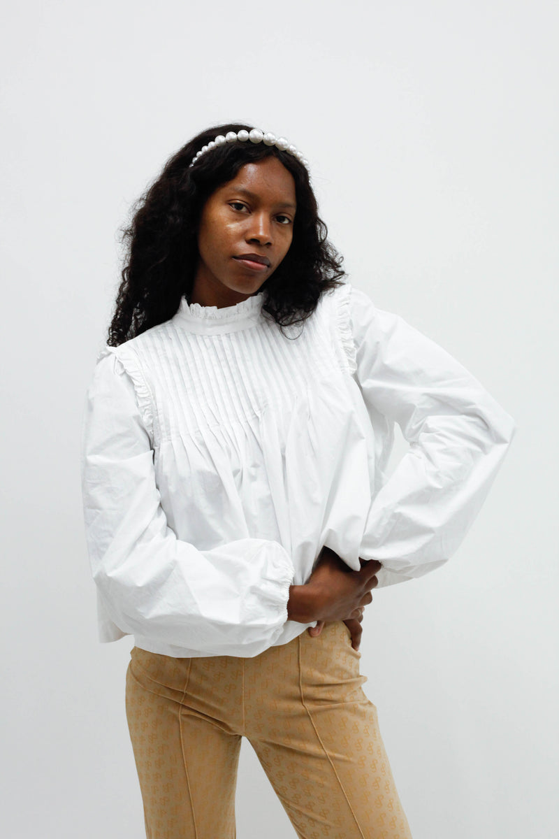 Cotton Poplin Pin-Tucked Blouse - Bright White