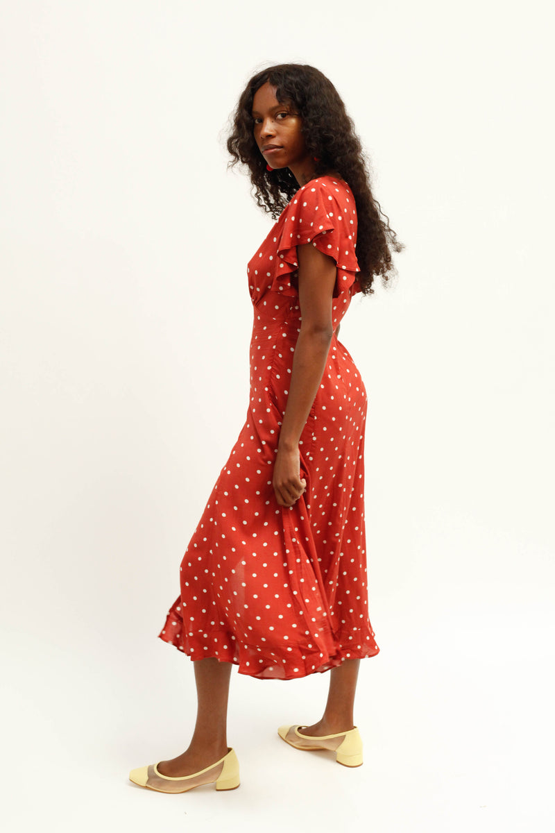 Polly Sunday Midi Dress - Red