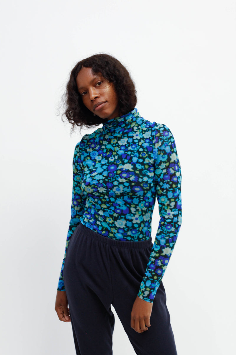 Printed Mesh Turtleneck - Azure Blue
