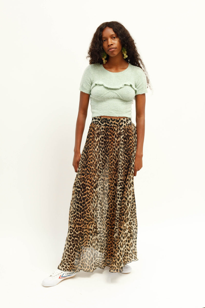 Pleated Georgette Leopard Skirt - Leopard