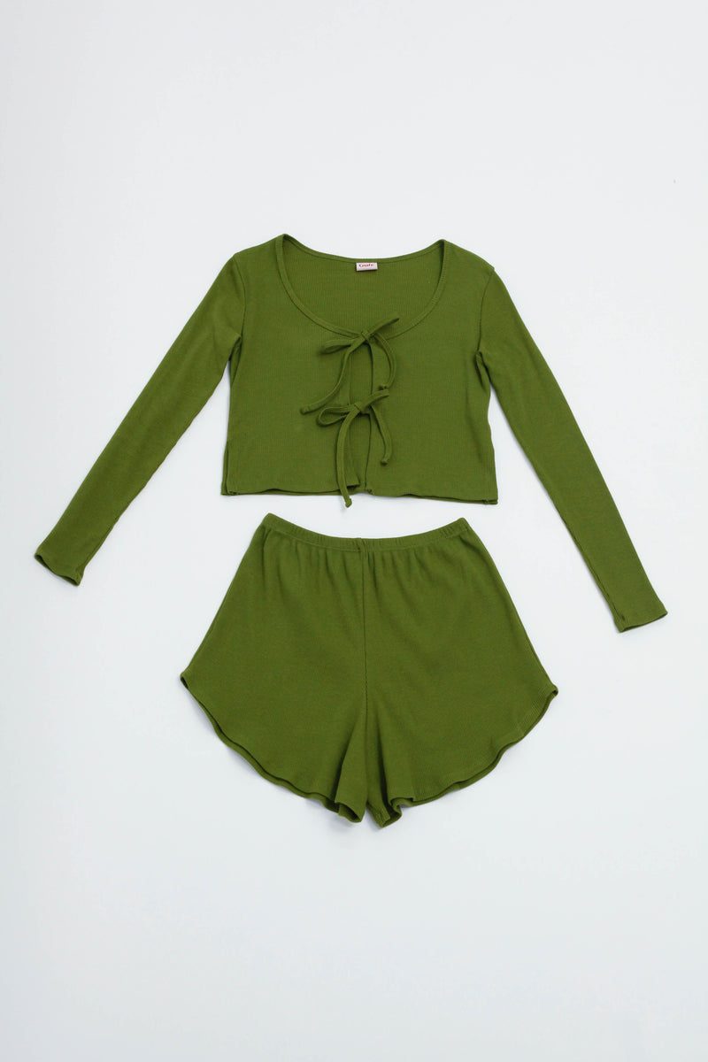 Mia Lounge Set Long Sleeve - Moss