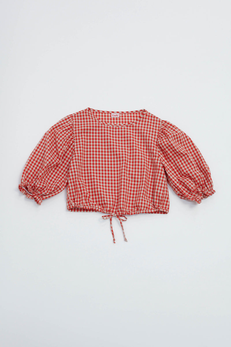 Sadie Top - Terracotta Gingham