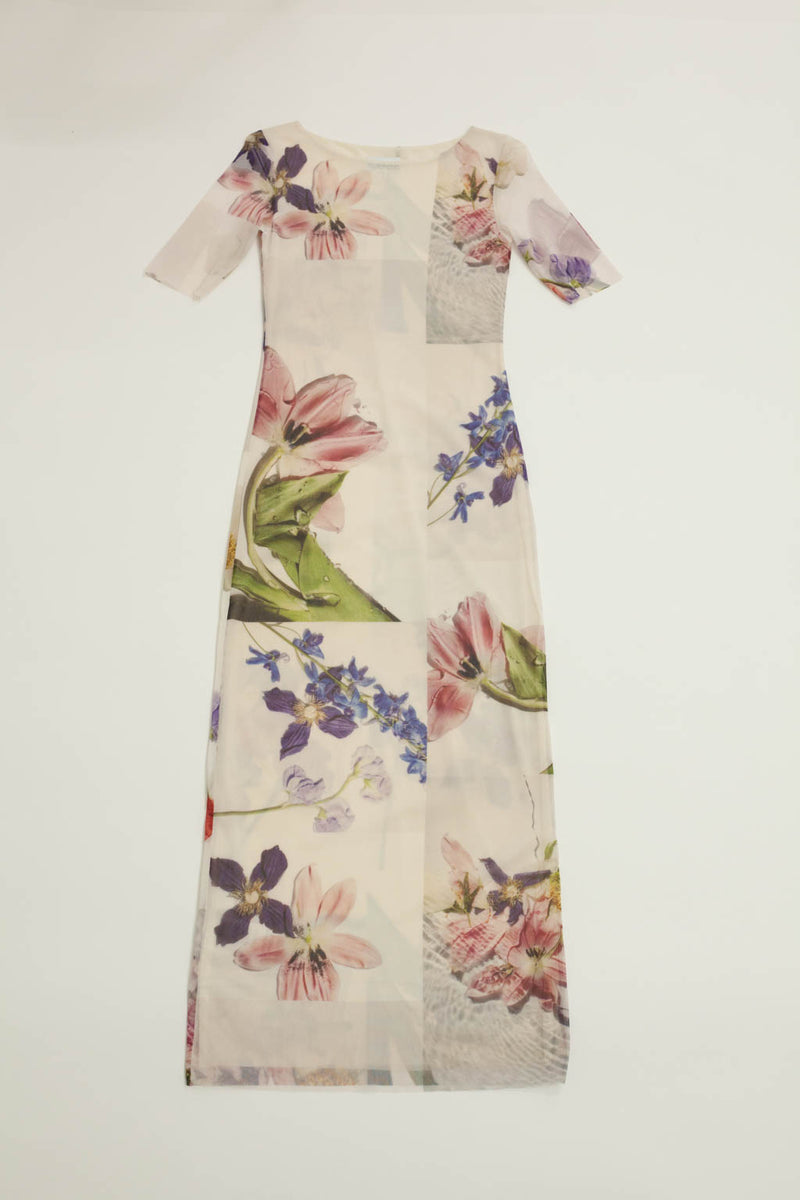 Tilden Mesh Cap Sleeve Dress - Bright White Floral