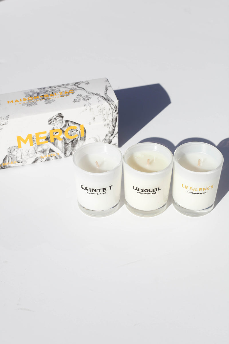 Set of 3 mini candles - Merci