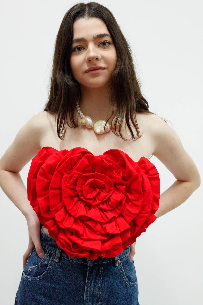 Rose Top - Red Woven