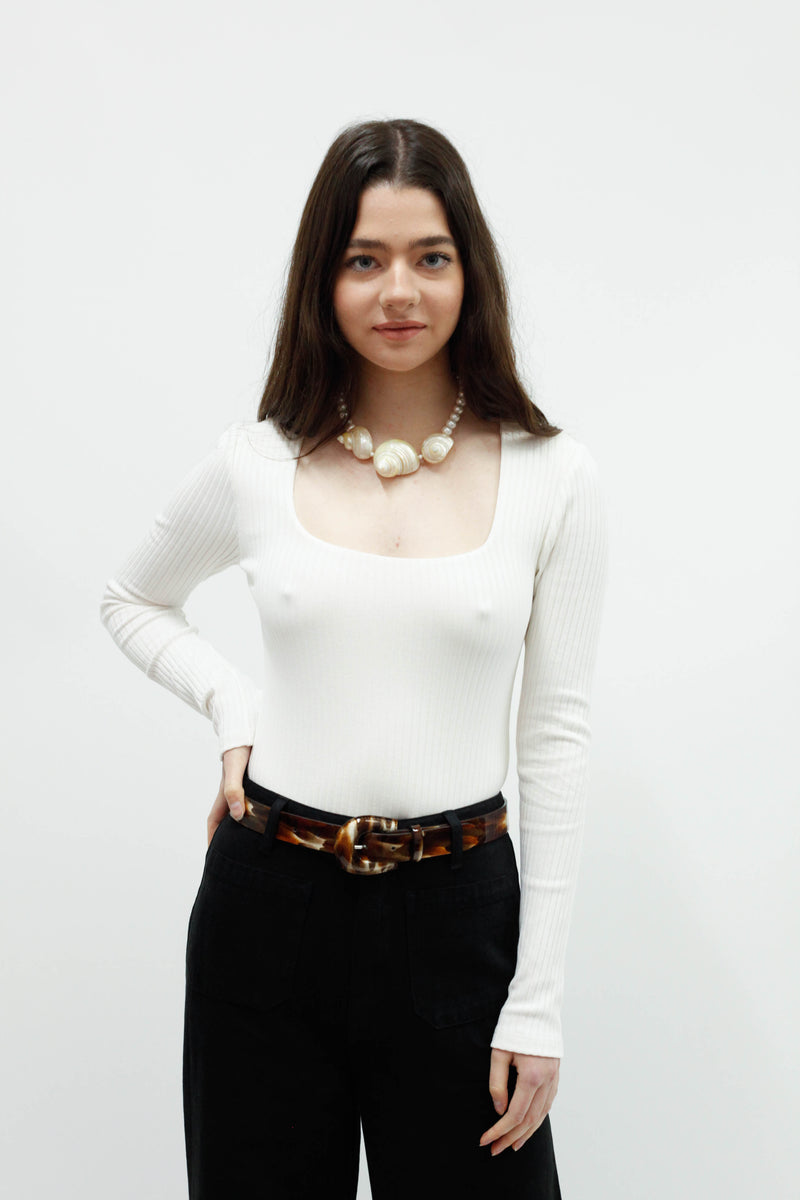 Venus Bodysuit - White Rib Knit