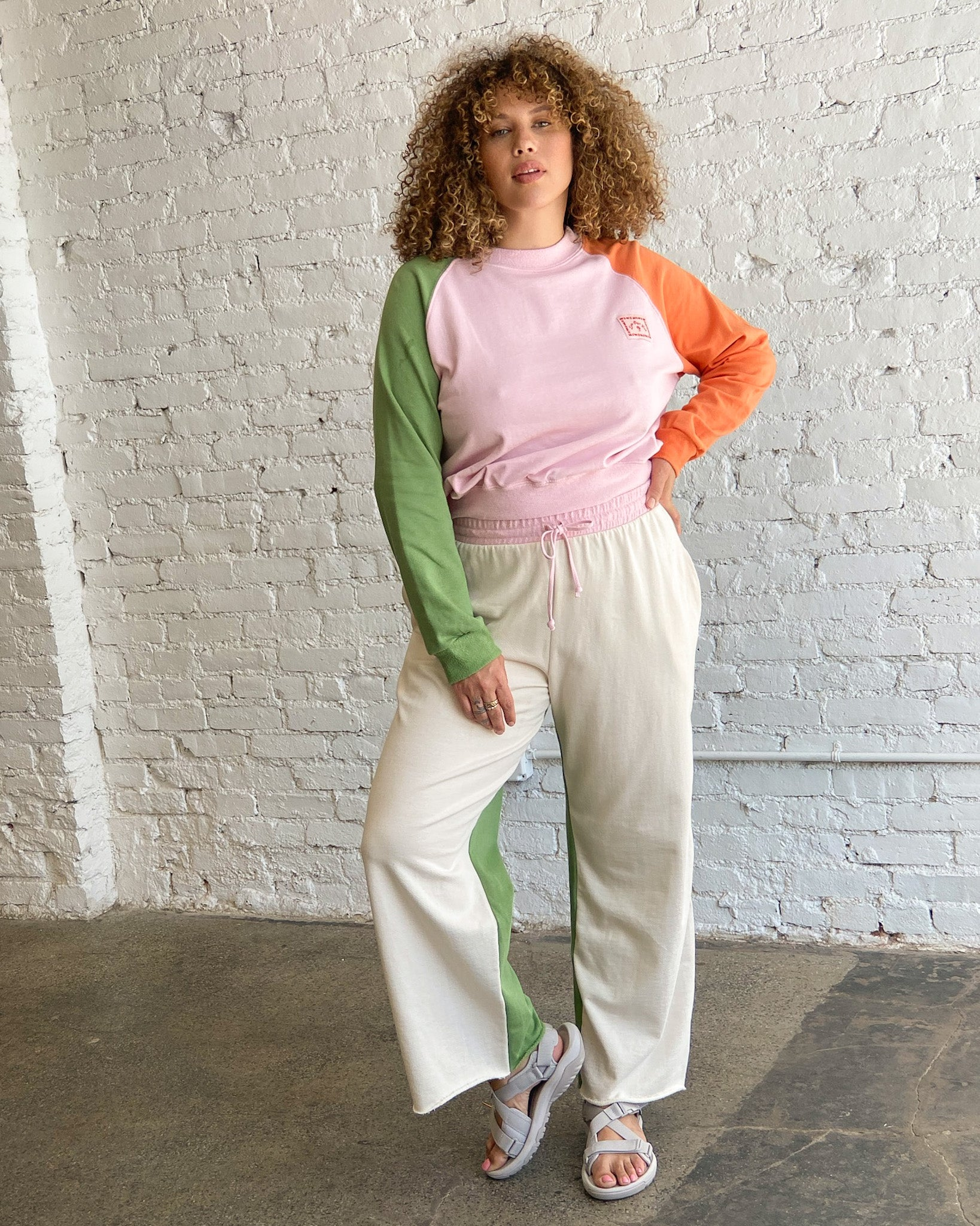 Winona Organic Terry Sweatshirt - Colorblock Pink Green Orange