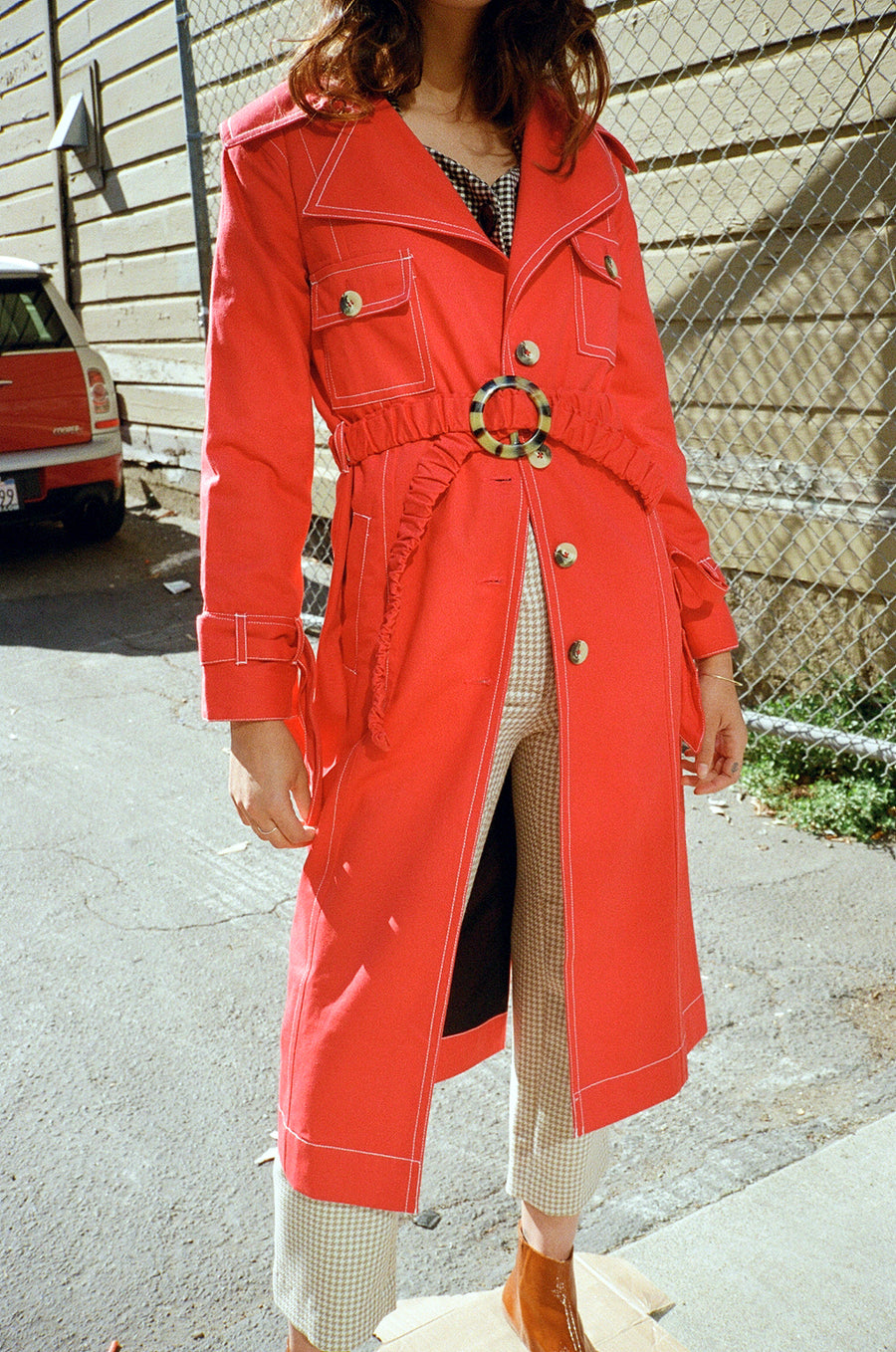 Mujer Trench Coat - Rojo Red