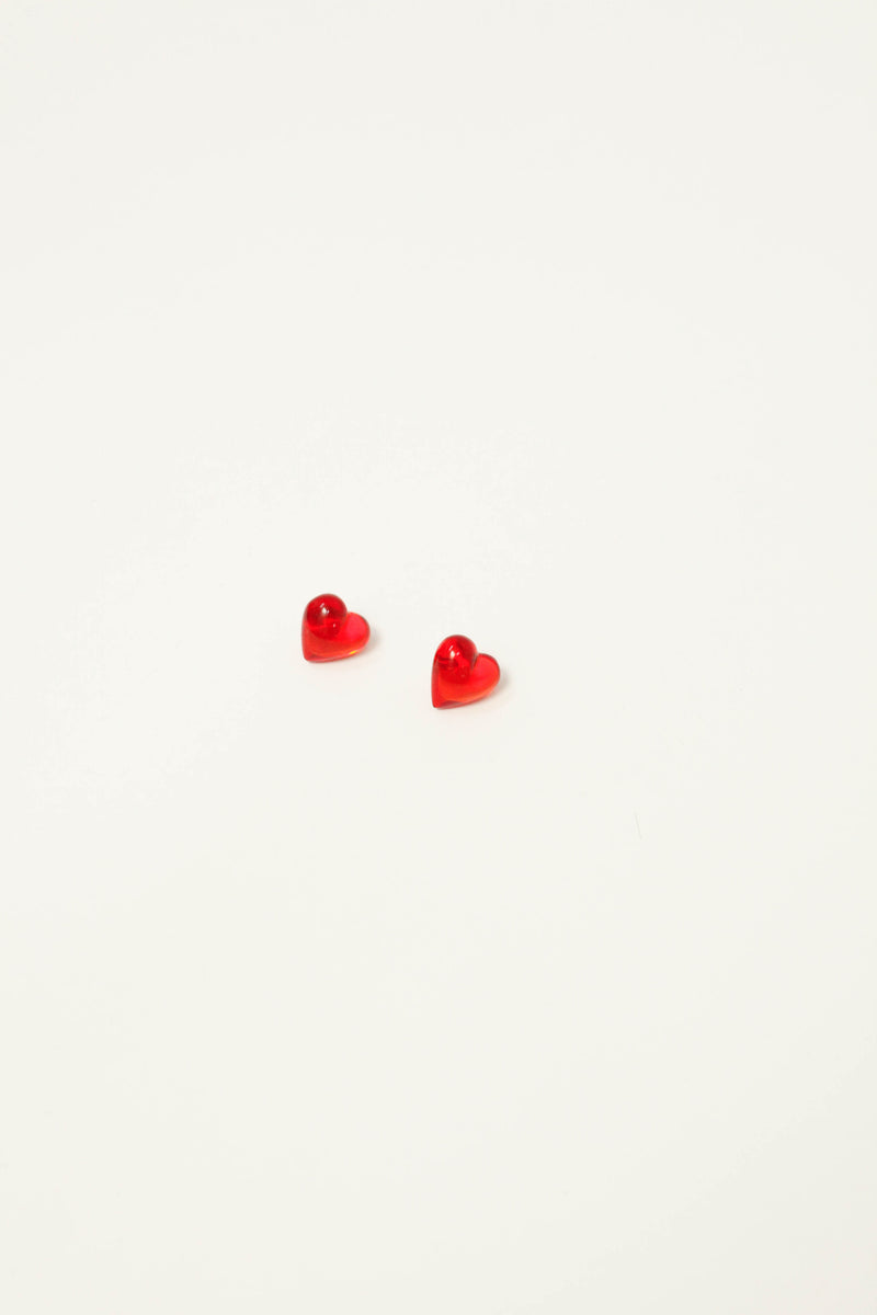 Never Tear Us Apart Heart Stud Earnings - Rojo Resin