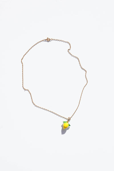 Glass Lemon Necklace - Single Lemon