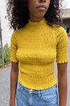 Smocked Mock Top - Yellow