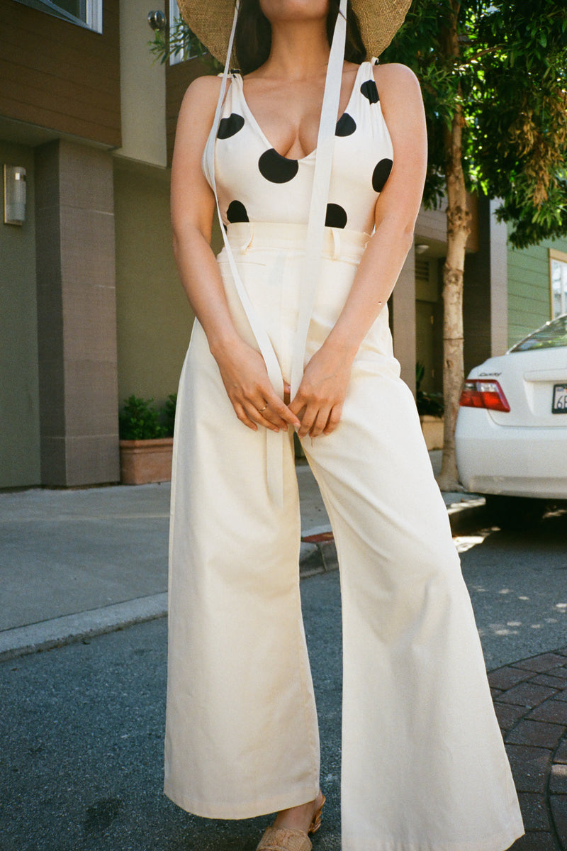 High Waisted Side Button Pant - Ivory