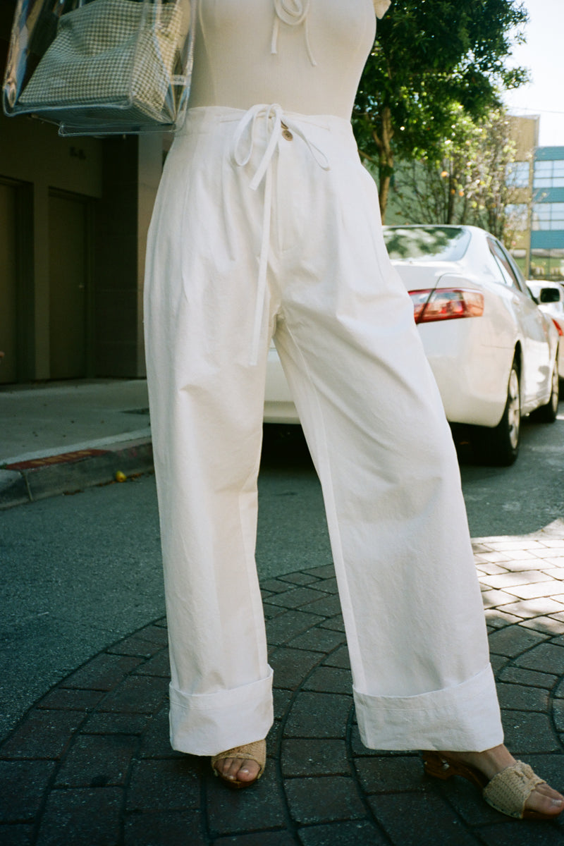 Paper Bag Pants - White