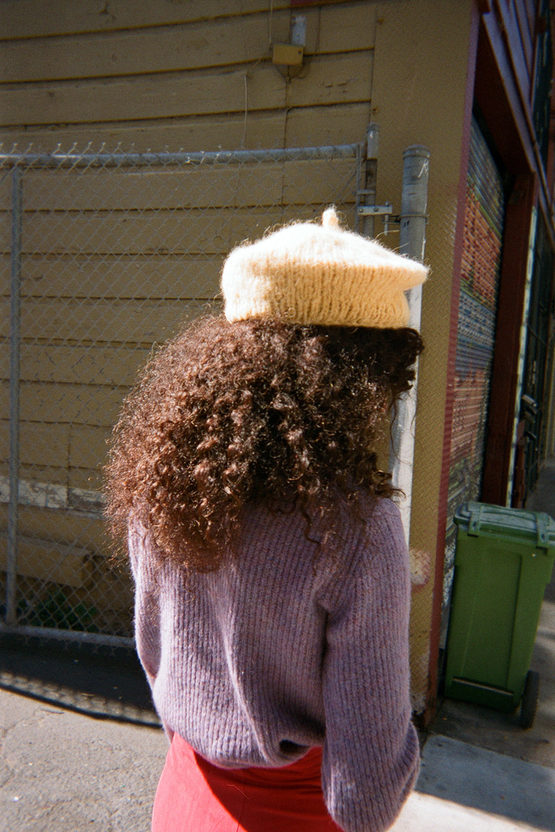 Mohair Beret - Yellow