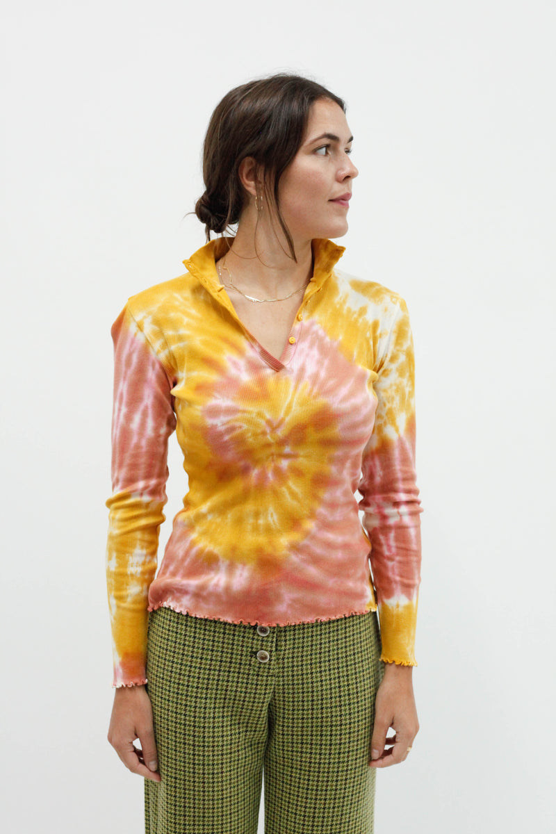 Violetta Tie-Dye Henley Top - Yellow