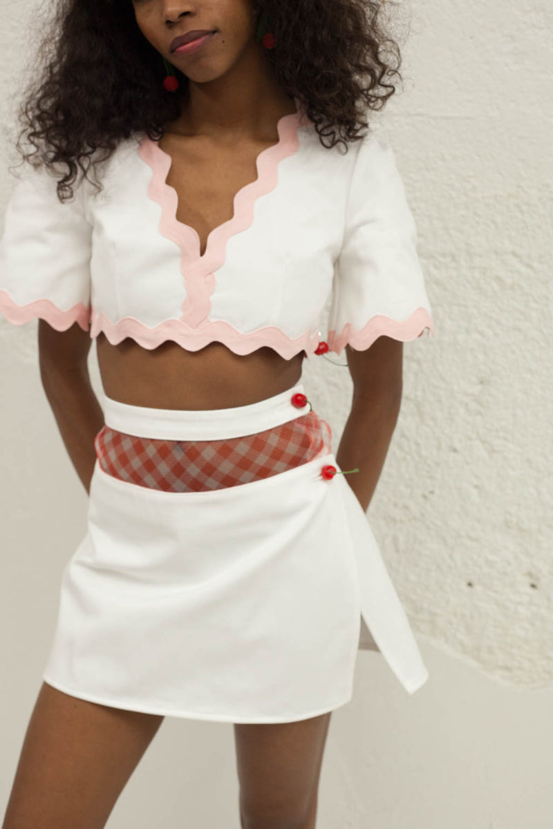 Sweet Like Cherry Wine Skirt - White