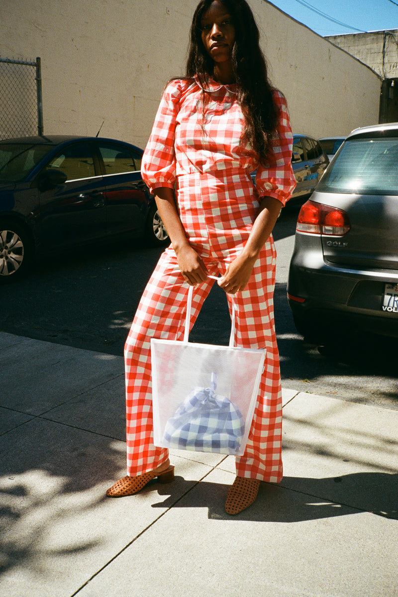 Wide Trouser - Red Gingham
