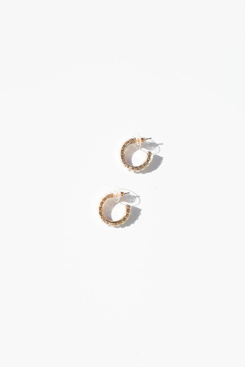 Mini Pearl Hoops - Gold