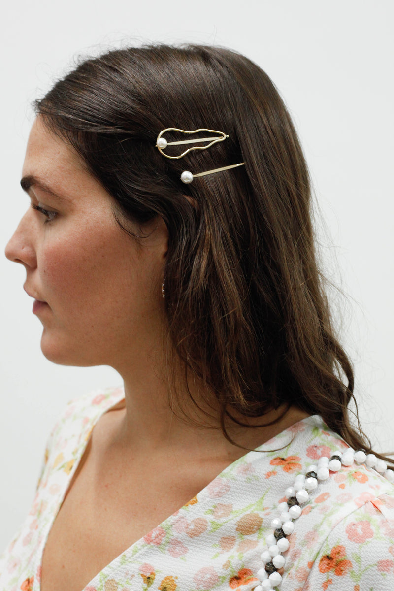 Mother of Pearl Barrettes - Gold