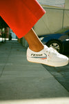 Fe Lo Platform - White Canvas blue/red