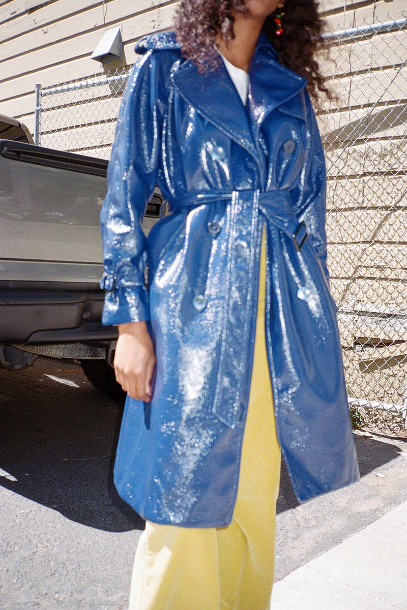 Jane Trench Coat - Navy Vinyl