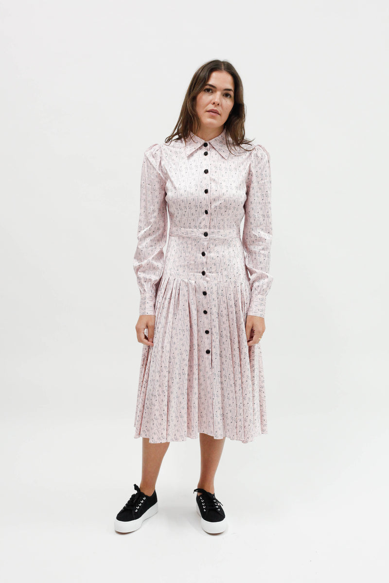 Fanny Pleated Shirt Dress - Martini