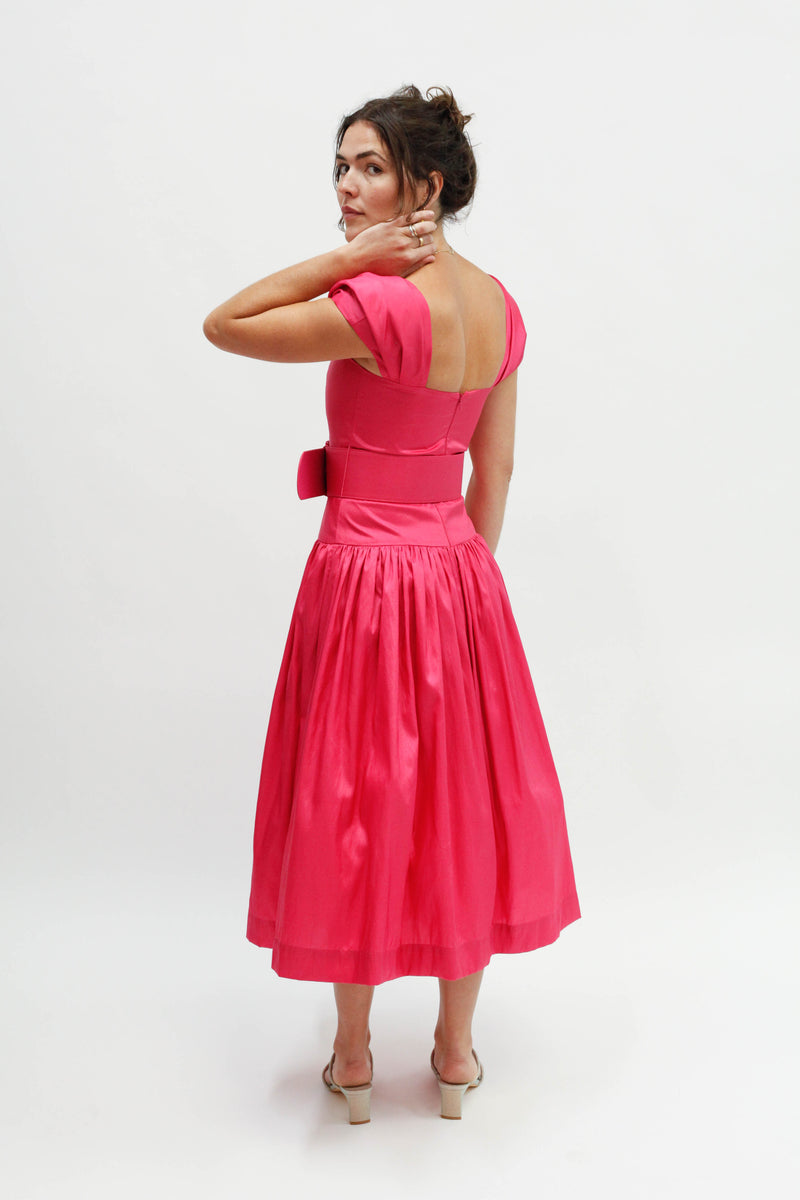 Rosie Drop Waist Dress - Hot Pink