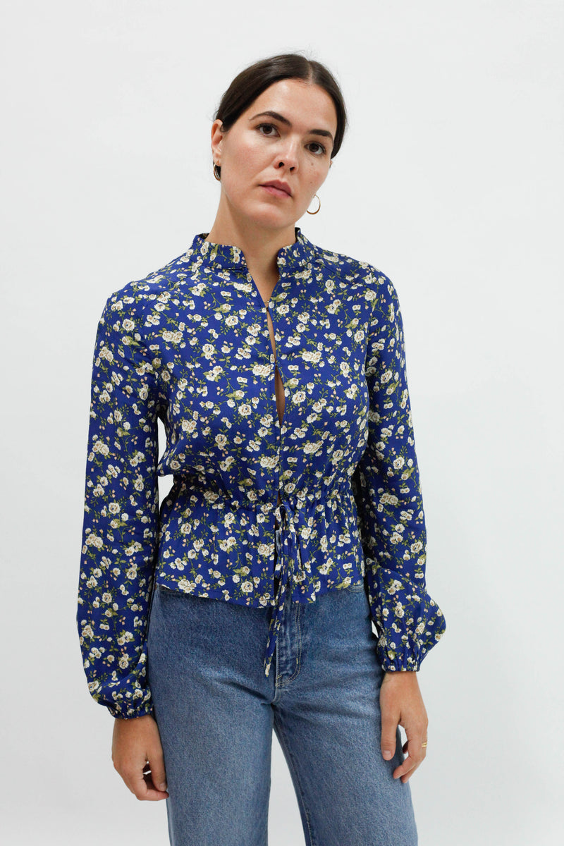 Ella L/S Rambling Rose Blouse - French Blue