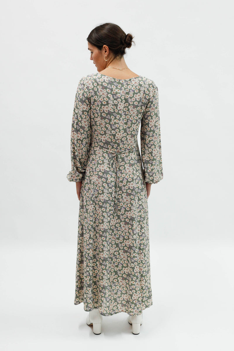 Ruby Daises Dress - Olive
