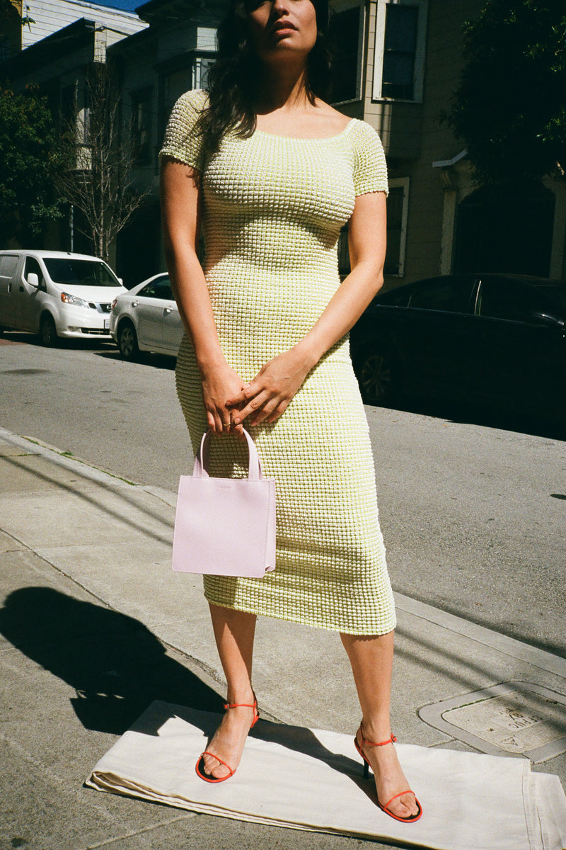 Sara Dress - Green Embossed