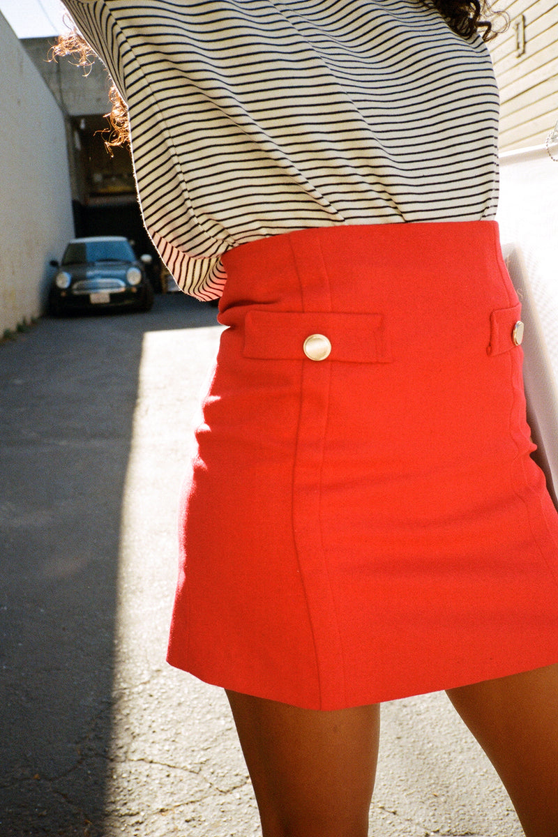 Peck Button Detail Mini Skirt - Red
