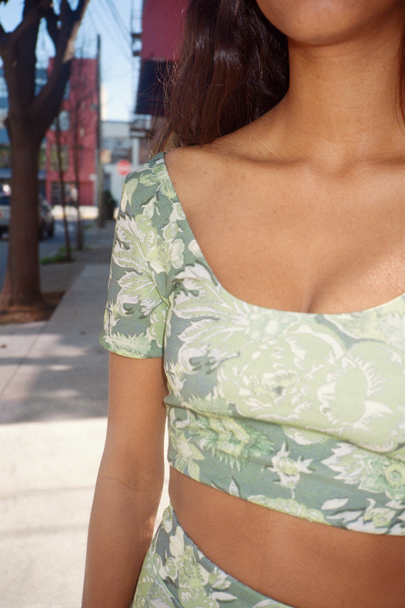 Floral Athletic Short Sleeve Top - Green