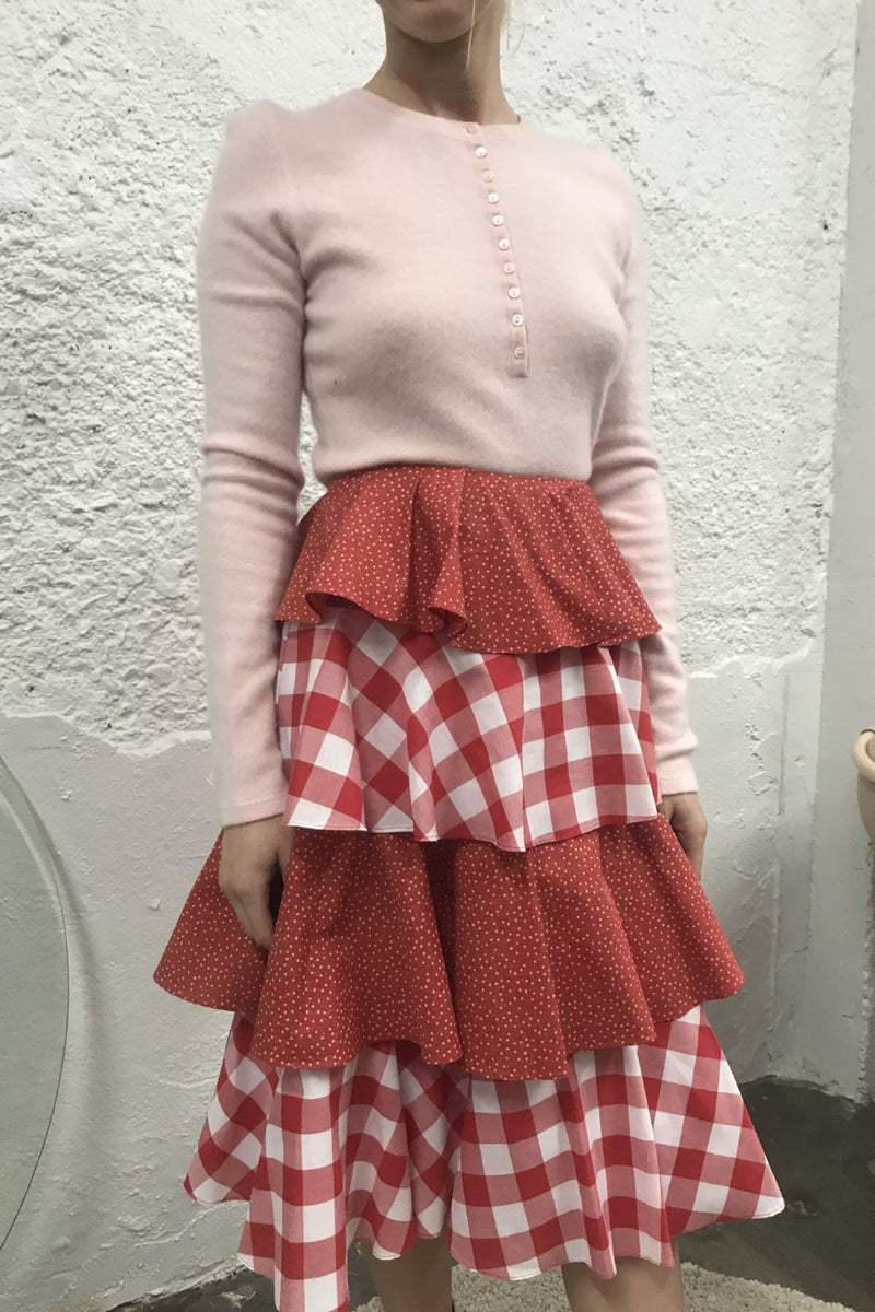 Tiered Skirt - Red Gingham