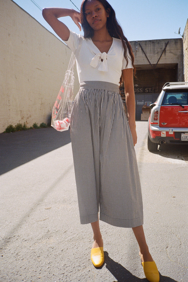 Claudine Wide Leg Pants - Gingham
