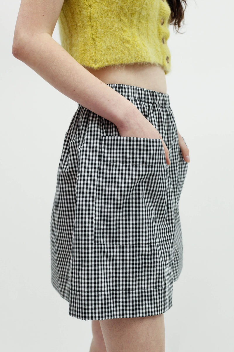 Backward Boxer Short - Black & White Gingham